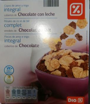Copos de arroz y trigo integral  cubiertos de chocolate con leche Día