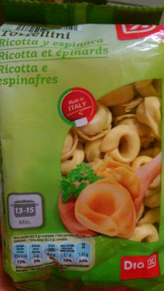 Tortellini Ricotta y espinaca  Día
