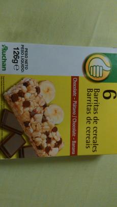Barrita de cereales chocolate y plátano Auchan