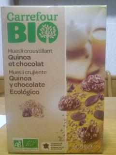 Muesli crujiente uinoa y chocolate ecologico carrefour