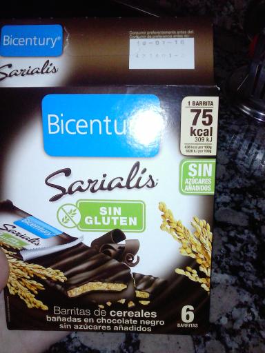 Barrita de cereales con chocolate negro bicentury