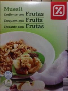 """Muesli crujiente con frutas. Marca """"Día"""""""