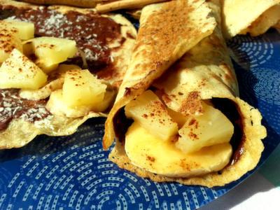 Crepes con crema de cacao y plátano