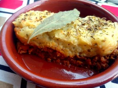 Sepherd's pie (pastel de carne de soja y puré)