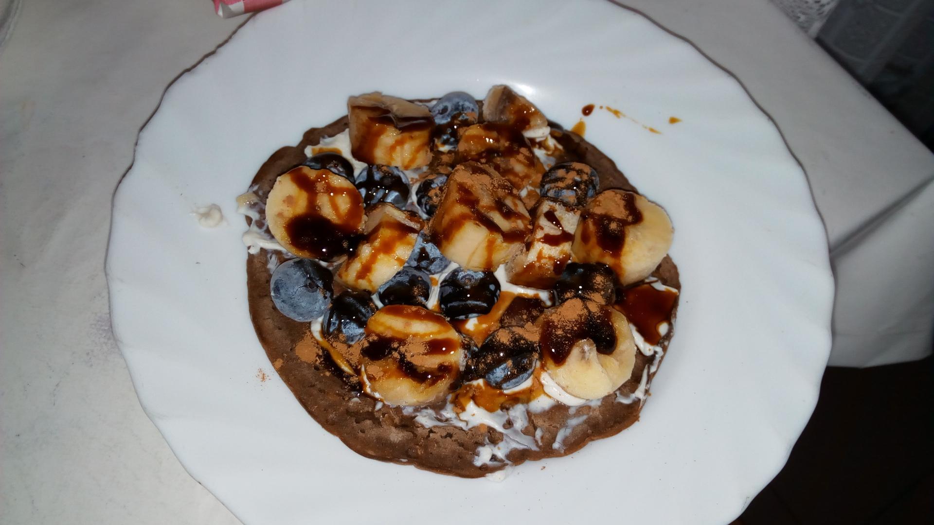 tortitas de teff y algarroba (desayuno)