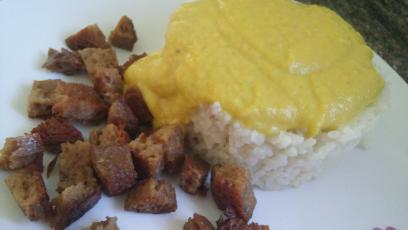 seitan con arroz a la salsa de curry