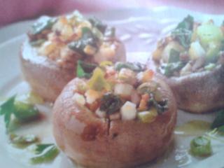 champiñones rellenos de espinacas y nueces