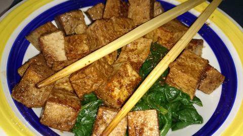 acelgas templadas con tofu