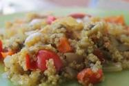 Calabaza rellena con sofrito de quinoa y verduras