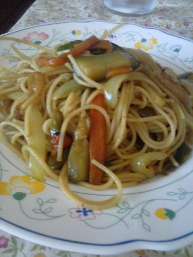 Pasta con verdura al curry