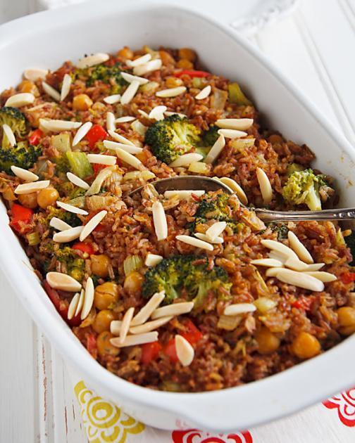 Cazuela cremosa de arroz y brócoli
