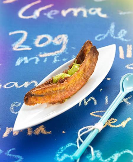 Crujiente de plátano y aguacate