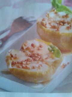 manzanas asadas con crujiente de almendras