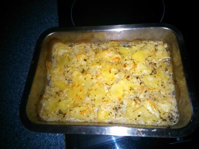 Patatas con cebolla al horno