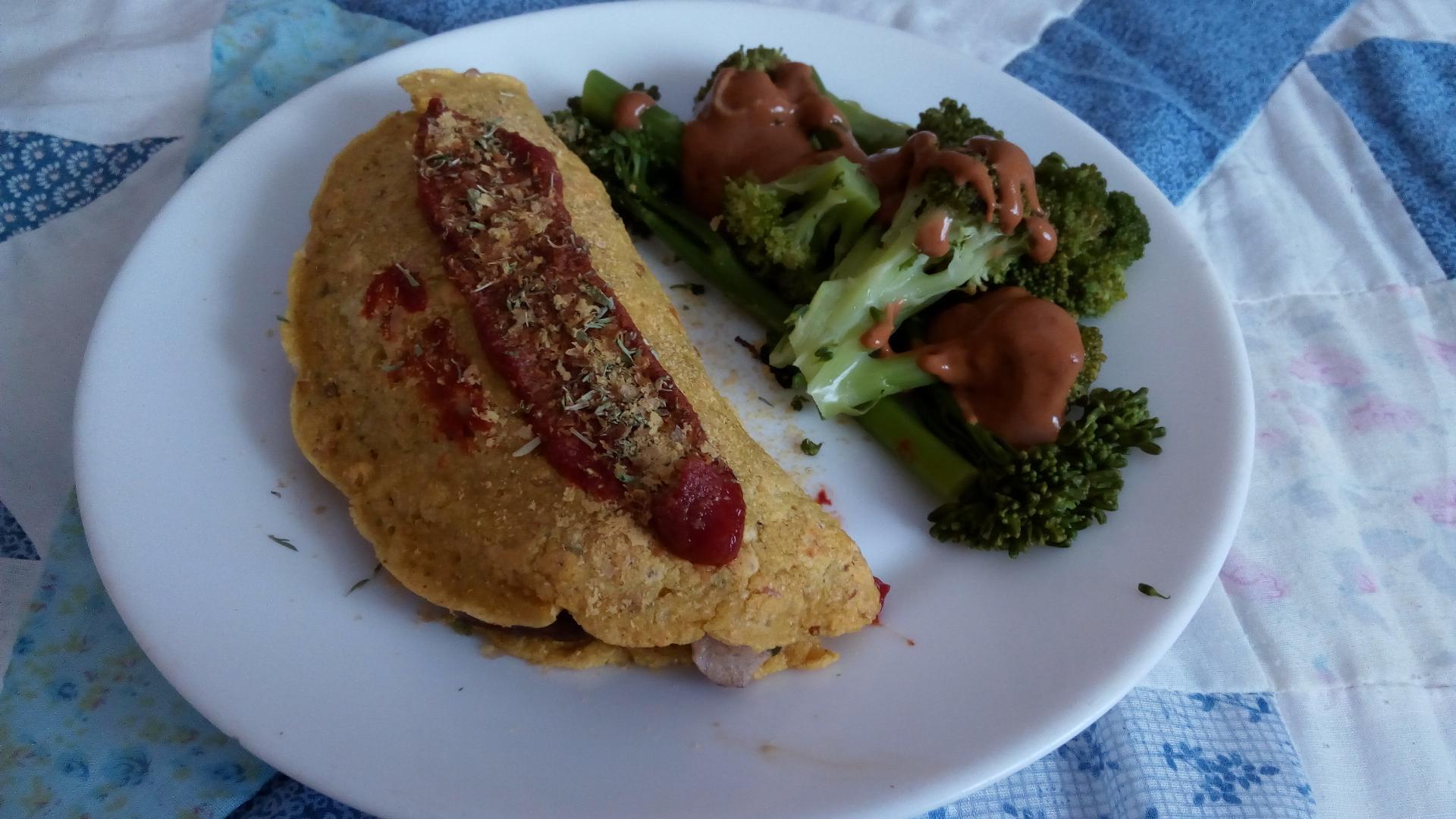 tortilla rellena y brócoli al miso-mostaza
