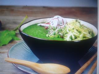 sopa fría de pera y espinacas