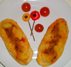 Barcas de patata rellenas