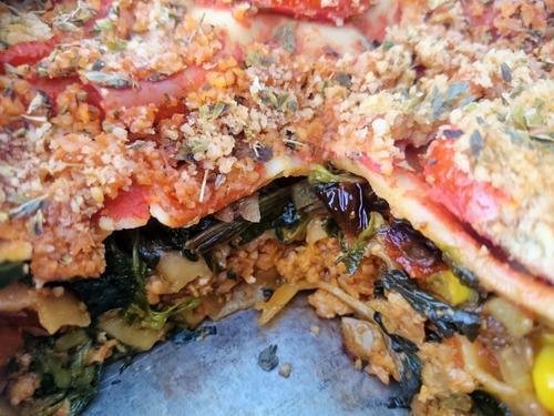 Lasaña de acelgas y carne de soja