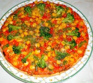 Pizza de pimiento y brócoli