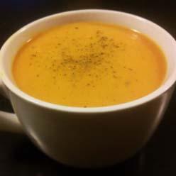 Crema de calabaza y lentejas rojas al curry