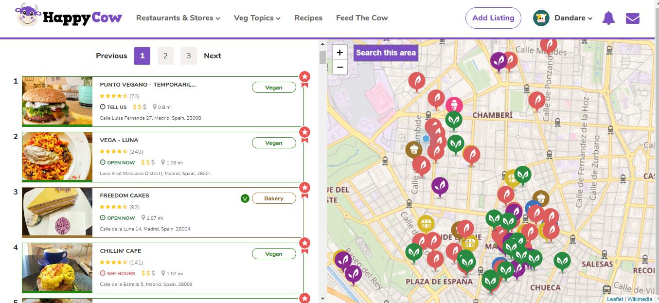 HAPPYCOW. App/Web para encontrar restaurantes veganos cercanos.